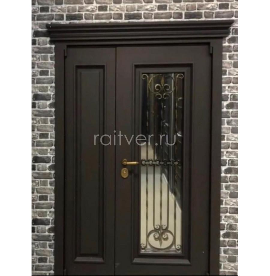 Чёрная двухстворчатая дверь под заказ сбагетами, фрамугой и стеклопакетом