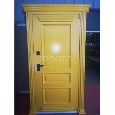 Жёлтая входная заказная дверь Прадо с чёрной фурнитурой