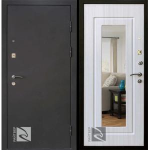 Входная дверь Райтвер Престиж Лайф зеркало белый дуб (Белая панель)
