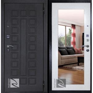 Входная дверь Райтвер Сенатор Лайф зеркало беленый дуб (Белая панель)