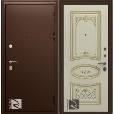 Входная дверь Райтвер Премьер с Накладкой Ария Слоновая кость патина золото